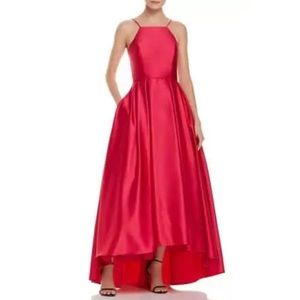 Betsy & Adam Red Satin Halter A-Line Prom Gown Size 6 David's Bridal